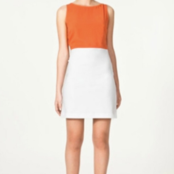 Zara Dresses & Skirts - ZARA BASIC Orange/White Color Block Dress Small